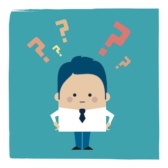 Ilustracja biznesmena i znaki zapytania