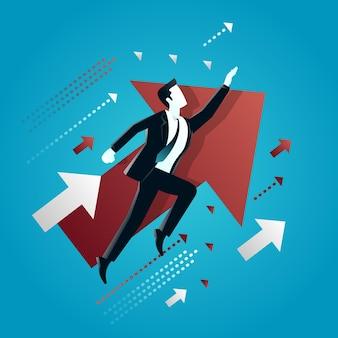 Ilustracja biznesmena lecącego między strzałkami ilustracja koncepcja biznesowa