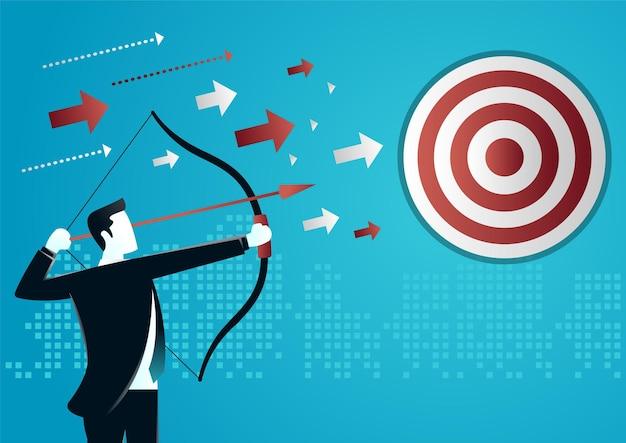 Ilustracja biznesmena mające na celu strzałkę do celu
