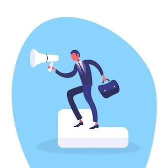 Ilustracja biznesmena mienia głośnik
