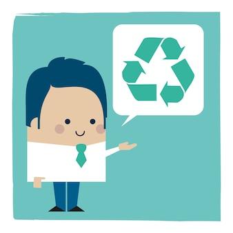Ilustracja biznesmena mówiącego o recyklingu