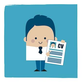 Ilustracja biznesmena posiadającego cv