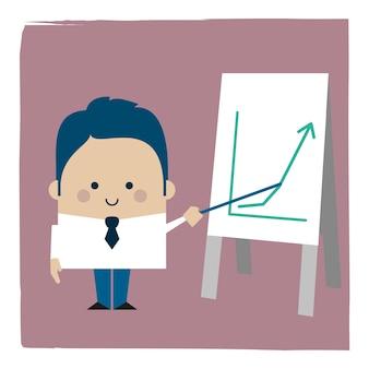 Ilustracja biznesmena przedstawiająca rosnący wykres
