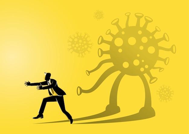 Ilustracja biznesmena przestraszonego własnym cieniem przypominającym koronawirus