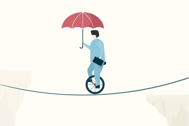 Ilustracja biznesmena równoważenie