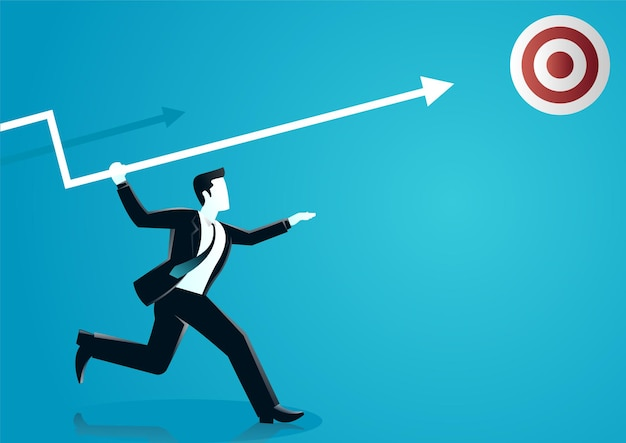 Ilustracja biznesmena rzucanie strzałą do tablicy docelowej. opisać biznes docelowy.