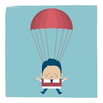 Ilustracja biznesmena spadochroniarza