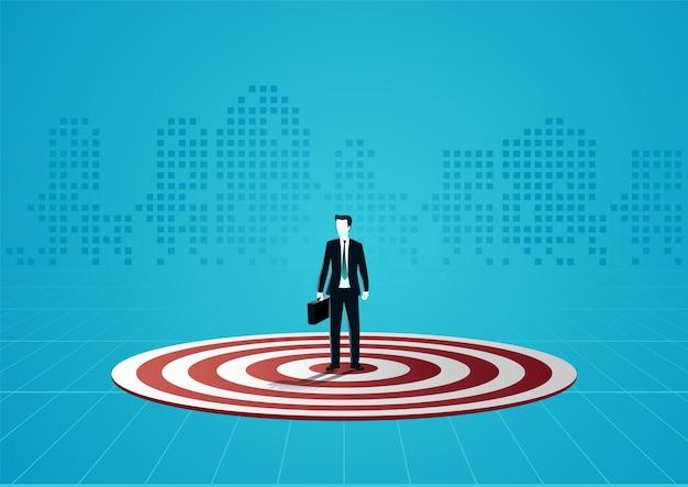 Ilustracja biznesmena stojącego nad płytą docelową