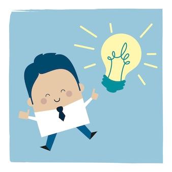 Ilustracja biznesmena z pomysłem