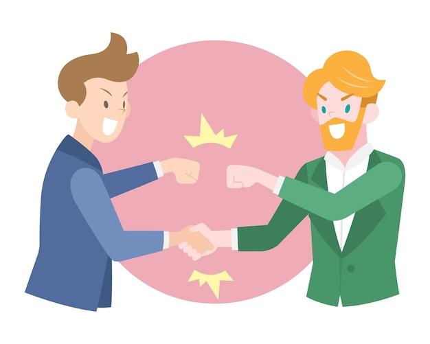 Ilustracja biznesmenów płaski uścisk dłoni