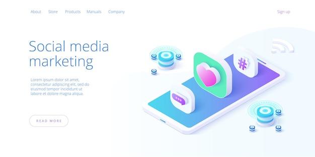 Ilustracja biznesowa marketingu w mediach społecznościowych w projekcie izometrycznym.