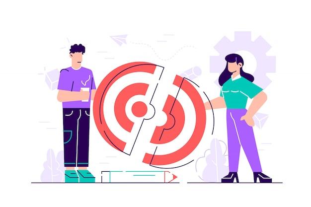 Ilustracja biznesowa, połączenie dwóch połówek układanki docelowej, praca zespołowa, współpraca. ilustracja nowoczesny projekt płaski na stronie internetowej, karty, plakat, media społecznościowe
