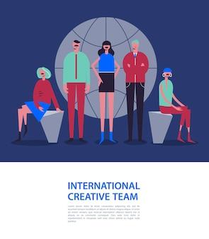 Ilustracja biznesowa, stylizowane postacie. biznesowa ilustracja. mężczyźni i kobiety w pobliżu świata. międzynarodowy zespół, sieć społecznościowa