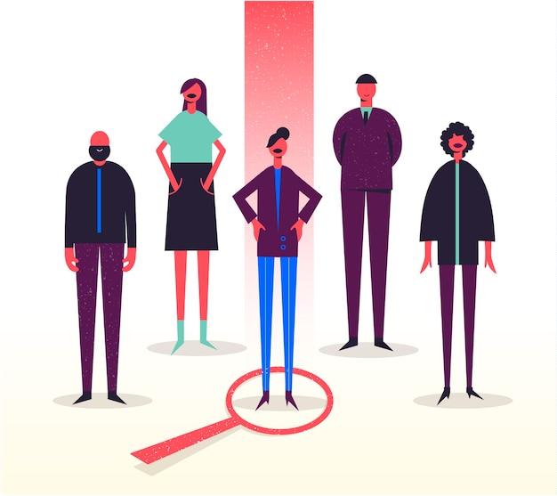 Ilustracja biznesowa, stylizowane postacie. rekrutacja, polowanie na głowy, poszukiwanie pracy. wybór jednego spośród innych. kobieta