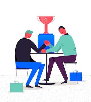 Ilustracja biznesowa, stylizowane postacie. rywalizacja między dwoma biznesmenami, siłowanie się na rękę, walka o przywództwo
