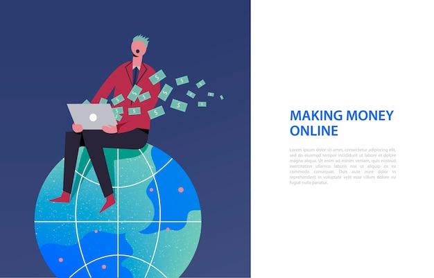 Ilustracja biznesowa, stylizowane postacie. stylizowana postać siedząca na kuli ziemskiej. zarabianie w internecie, jako wolny strzelec, biznes online.