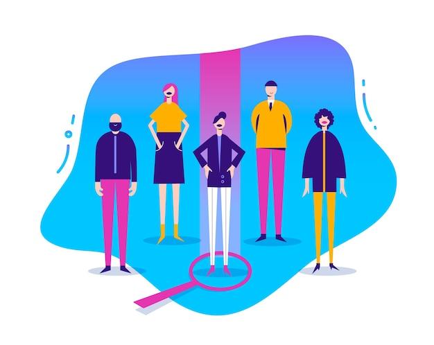 Ilustracja biznesowa, stylizowane postacie. zasoby ludzkie, hr con ept. poszukiwanie pracy, ludzie. baner rekrutacyjny, plakat wybór kobiety