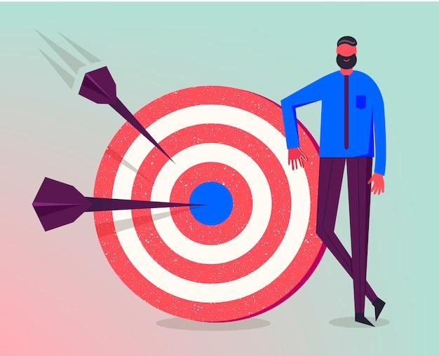 Ilustracja Biznesowa, Stylizowany Charakter. Dokonywanie Celów, Udana Strategia Biznesowa, Koncepcja Marketingowa. Mężczyzna Stojący Obok Celu Premium Wektorów