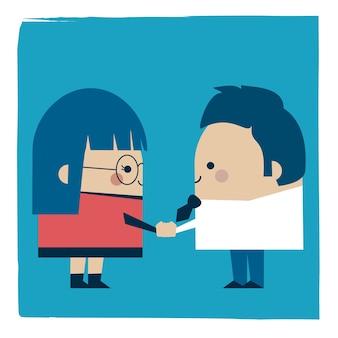 Ilustracja bizneswoman i uścisk dłoni biznesmena