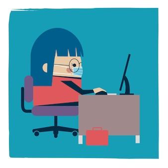 Ilustracja bizneswoman pracuje w masce na twarz