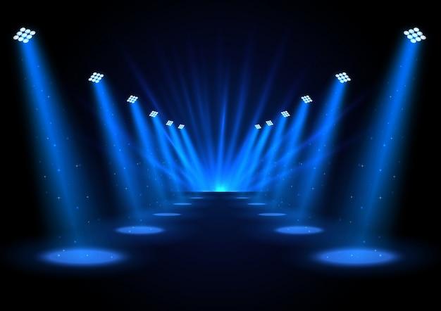 Ilustracja błękitni światła reflektorów na ciemnym tle