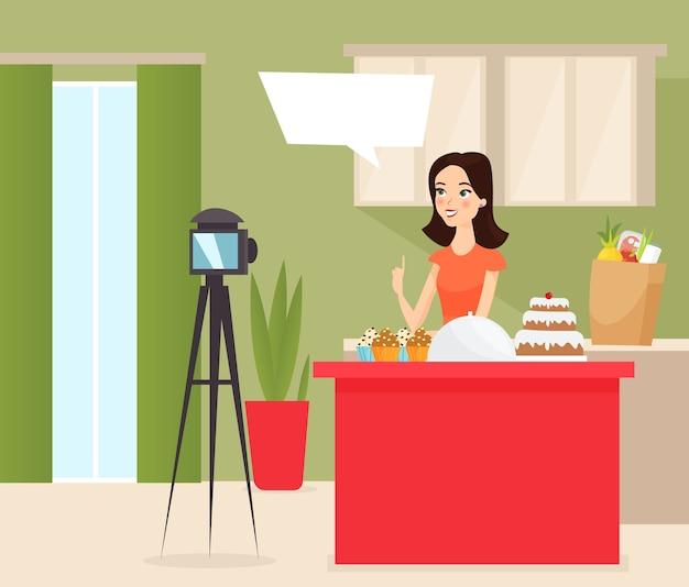 Ilustracja blogera żywności młoda kobieta vlogger strzelanie ciasto cartoon characte