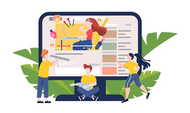 Ilustracja bloggera. oglądaj treści w internecie. idea mediów społecznościowych i sieci. komunikacja przez internet. ilustracja