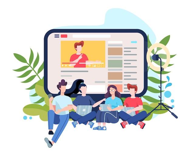 Ilustracja bloggera. udostępniaj i oglądaj treści w internecie. idea mediów społecznościowych i sieci. komunikacja przez internet. ilustracja