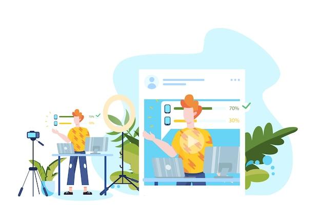 Ilustracja blogowania na instagramie. idea kreatywności i tworzenia treści, nowoczesny zawód. nagrywanie postaci z kamerą na ich blogu.