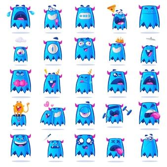 Ilustracja blue monster set.
