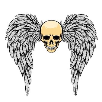 Ilustracja błyszczącej głowy z dużymi skrzydłami kątowymi