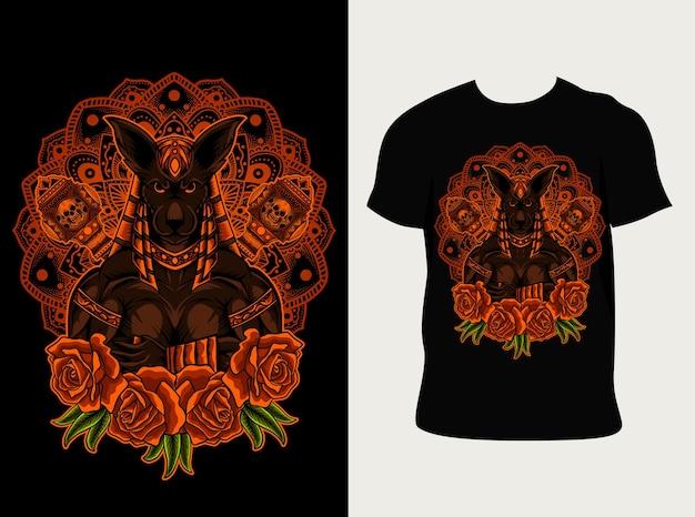Ilustracja bóg anubis z mandali i różą