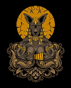 Ilustracja boga anubisa z ornamentem grawerującym