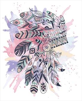 Ilustracja boho z nakryciem głowy z piór