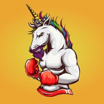 Ilustracja bokser jednorożca