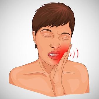 Ilustracja ból zęba pokazany na twarzy kobiety z czerwonym oznaczeniem