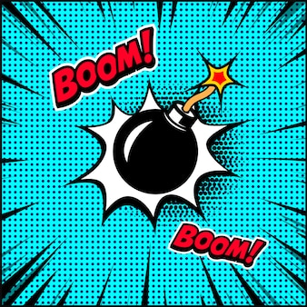 Ilustracja bomby w stylu komiksu. element plakatu, banera, ulotki. ilustracja