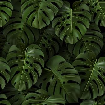 Ilustracja botaniczna z tropikalnymi zielonymi liśćmi monstera na ciemnym tle. realistyczny wzór na tekstylia, styl hawajski, tapeta, witryny, karta, tkanina, sieć. szablon.
