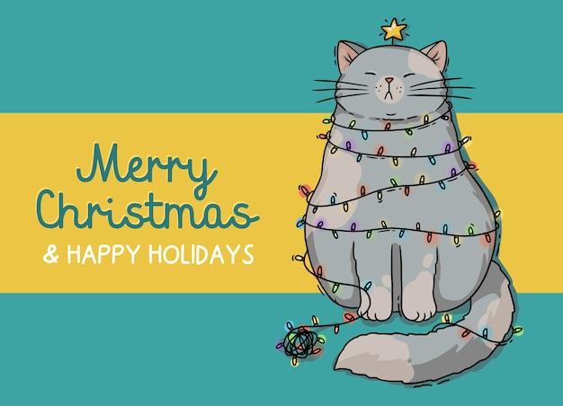 Ilustracja boże narodzenie szary kot z girlandą nowego roku