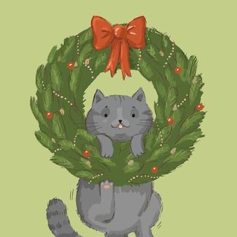 Ilustracja boże narodzenie wieniec z szarym kotem