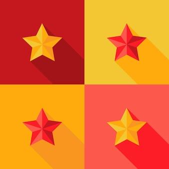Ilustracja boże narodzenie żółta i czerwona gwiazda płaski zestaw ikon
