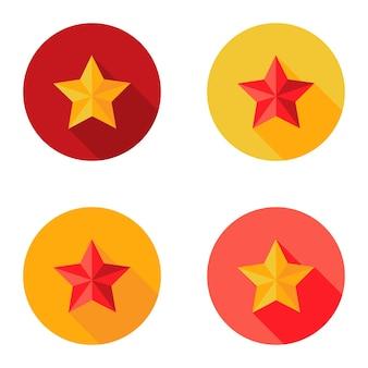 Ilustracja boże narodzenie żółty i czerwony gwiazda płaski zestaw koło ikony