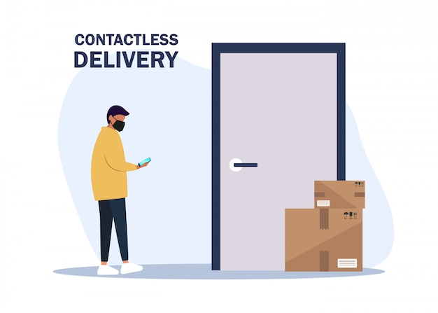 Ilustracja brak kontaktu z dostawą. dostarcz człowiek przynosi skrzynki i stawia je w pobliżu drzwi mieszkania. bezkontaktowa usługa ekspresowej dostawy. samoizolacja i kwarantanna styl życia