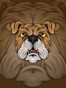 Ilustracja brązowy buldog głowy
