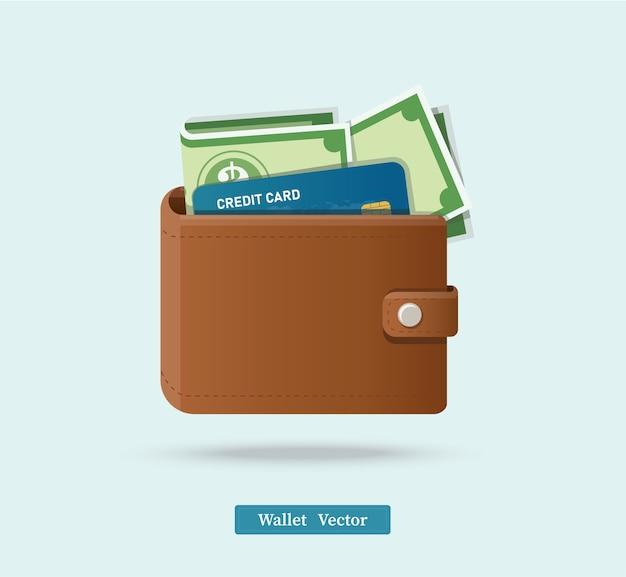 Ilustracja brązowy portfel
