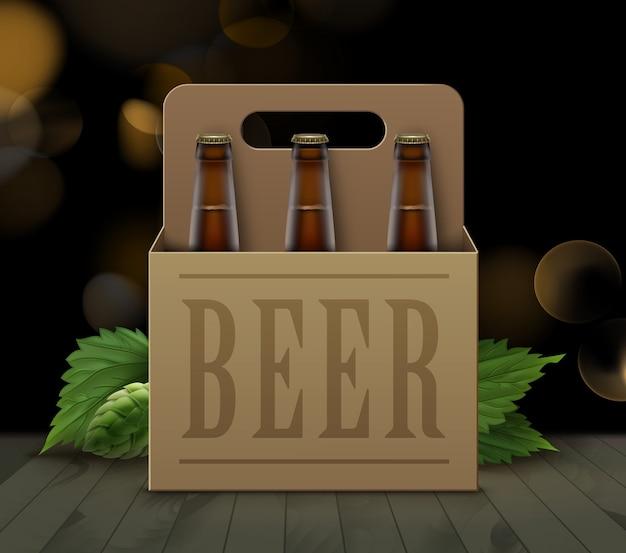 Ilustracja brązowych butelek piwa w tekturowym pudełku z uchwytem i zielonym chmielem na drewnianej podłodze i rozmytym tle