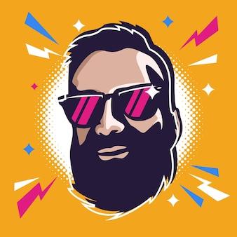 Ilustracja brodaty mężczyzna