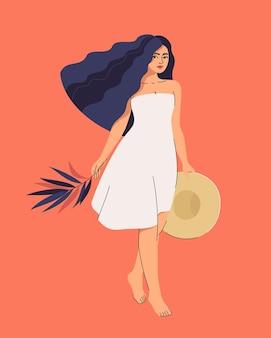 Ilustracja brunetka kobieta idzie w sukience z liściem palmowym