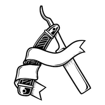 Ilustracja brzytwa fryzjera na białym tle. element projektu plakatu, karty, banera, ulotki, menu, godła, znaku. ilustracja wektorowa