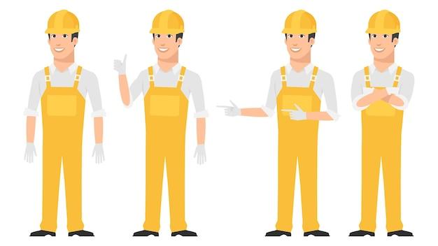 Ilustracja, budowniczy wskazujący w różnych pozach, format eps 10